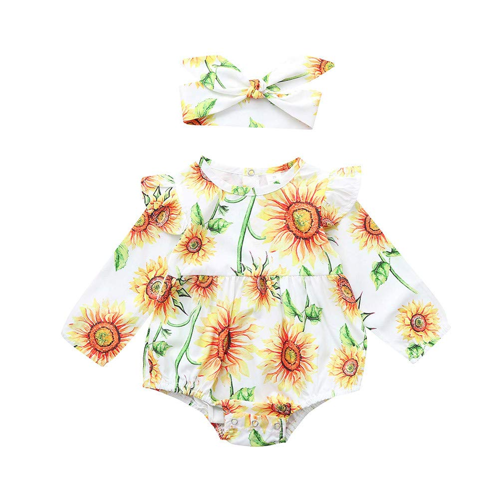 NUWFOR Toddler Infant Baby Girls Sunflower Printed Long Sleeve Romper Jumpsuit Outfits (Yellow,18-24Months