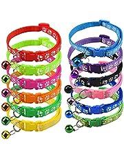 Jinlaili 12 szt. regulowane odblaskowe obroże dla kota z dzwonkiem, klamra bezpieczeństwa do szybkiego zwalniania kolorowa obroża dla kota, obroże bezpieczeństwa dla kotów szczeniaków psów małe zwierzę
