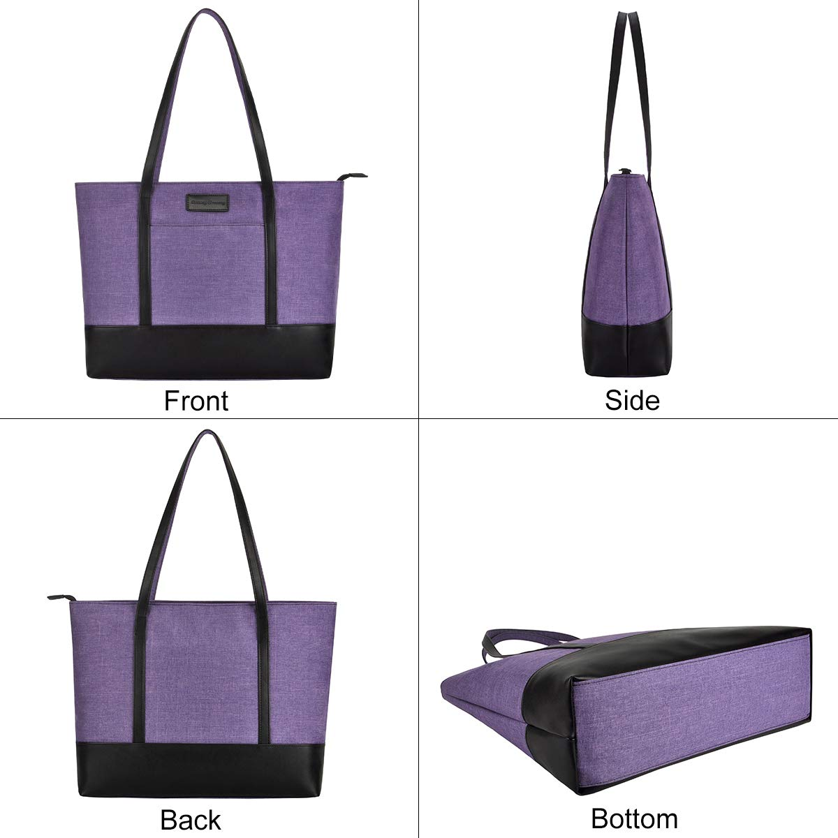 Laptop Tote Bag,Fits 15.6 Inch Laptop,Womens Lightweight Water Resistant Nylon Tote Bag Shoulder Bag Ideal for Her(C-Purple) by Sunny Snowy (Image #5)