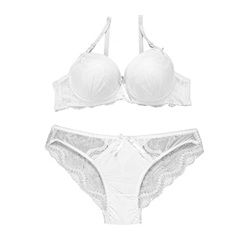 Fashion4Young Damen Dessous-Set Bügel BH Spitze Push-Up Slip Unterwäsche 2-farbig