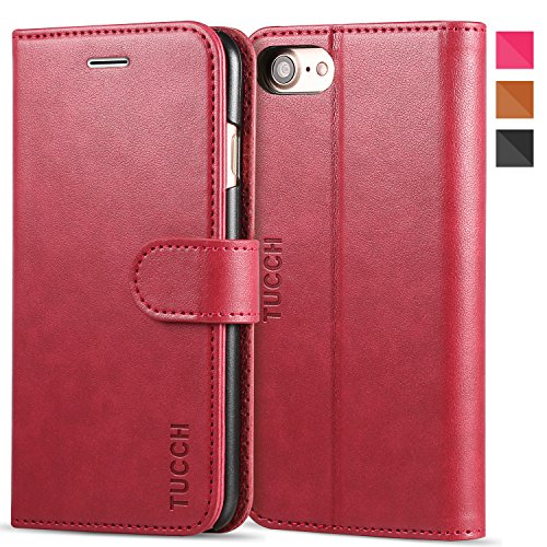TUCCH PU Leather Wallet Case Flip Folio Wallet Case with Card Slot, Cash Clip, Stand Holder and Magnetic (Leather Stand Wallet)