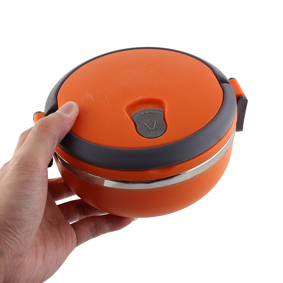 DealMux Home School Picnic Round Shaped Meal Container Lunch Box Holder Orange