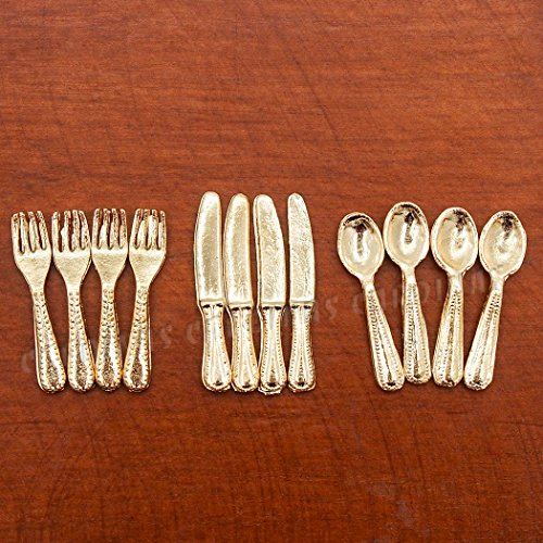 Odoria 1:12 Miniature 12PCS Knife Fork Spoon Set Golden Flatware Dollhouse Kitchen Accessories