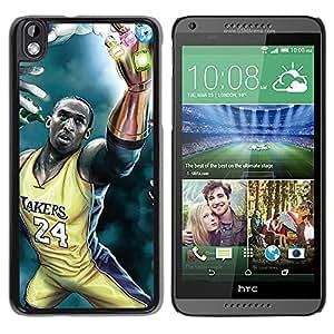 Laker Kobe 24 Superhero - Metal de aluminio y de plástico duro Caja del teléfono - Negro - HTC DESIRE 816