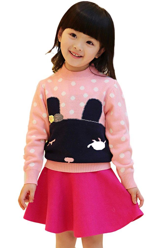 Lovely Item Girl's Flared Skater Knit Elastic Short Skirt HT 43 Inch Rose Red