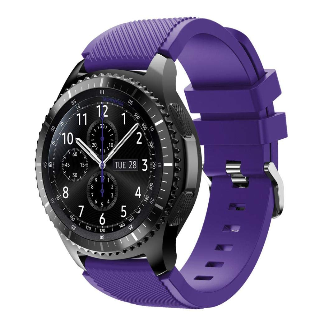 For Samsung Gear S3 Frontier New Fashion Sports Silicone Bracelet Strap Band,Outsta Watch Band Wrist Strap Watch Accessories Bracelet Best Gift 22mm (Purple)