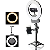 """10"""" Selfie Ring Light 3200K-6500K for Webcam YouTube Video and Makeup,Dimmable LED Camera Light with Adjustable Tripod Stand,Mirror Cell Phone Holder Desktop LED Lamp"""