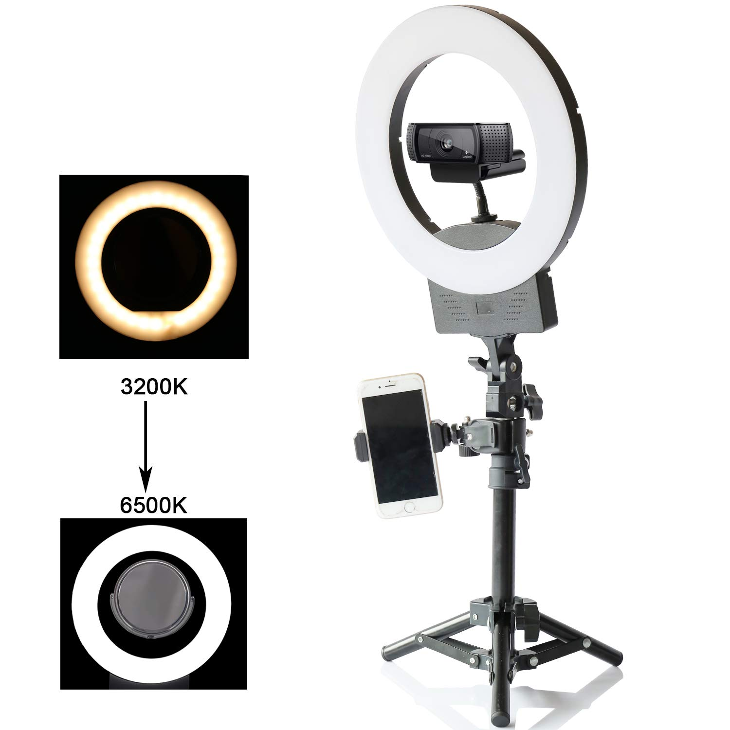 10'' Selfie Ring Light 3200K-6500K for Webcam YouTube Video and Makeup,Dimmable LED Camera Light with Adjustable Tripod Stand,Mirror Cell Phone Holder Desktop LED Lamp by Konseen