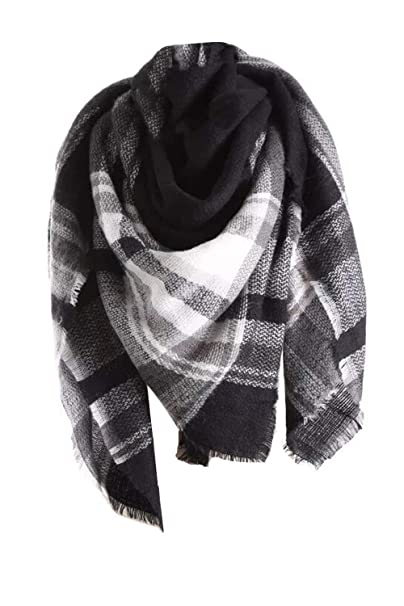 3d8454cf07843 Yanekop Womens Oversized Blanket Scarf Fashion Plaid Shawl Wrap Best  Gifts(Black)