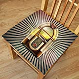 pin up car seat covers - Nalahome Set of 2 Waterproof Cozy Seat Protector Cushion Jukebox Retro Vintage 50s Pin Up Inspired Striped Backdrop Old Music Box Brown Beige and Petrol Green Printing Size 20x20inch