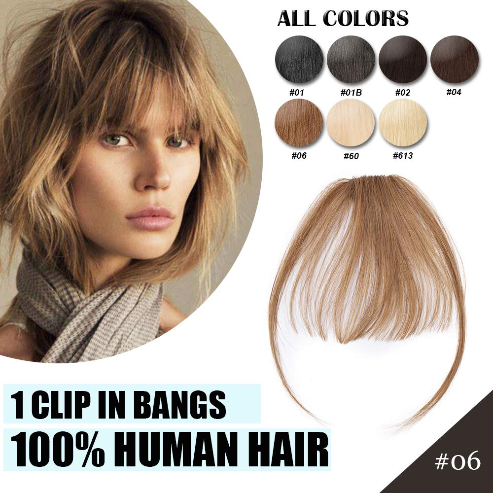 Clip in Real Human Hair Bangs Thin Air Bangs Extensions with Temples Front Flat Fringe Two Side Bang Onepiece Fashion Hair Extension Cute Hair Accessories for Women #06 Light Brown by Hairro