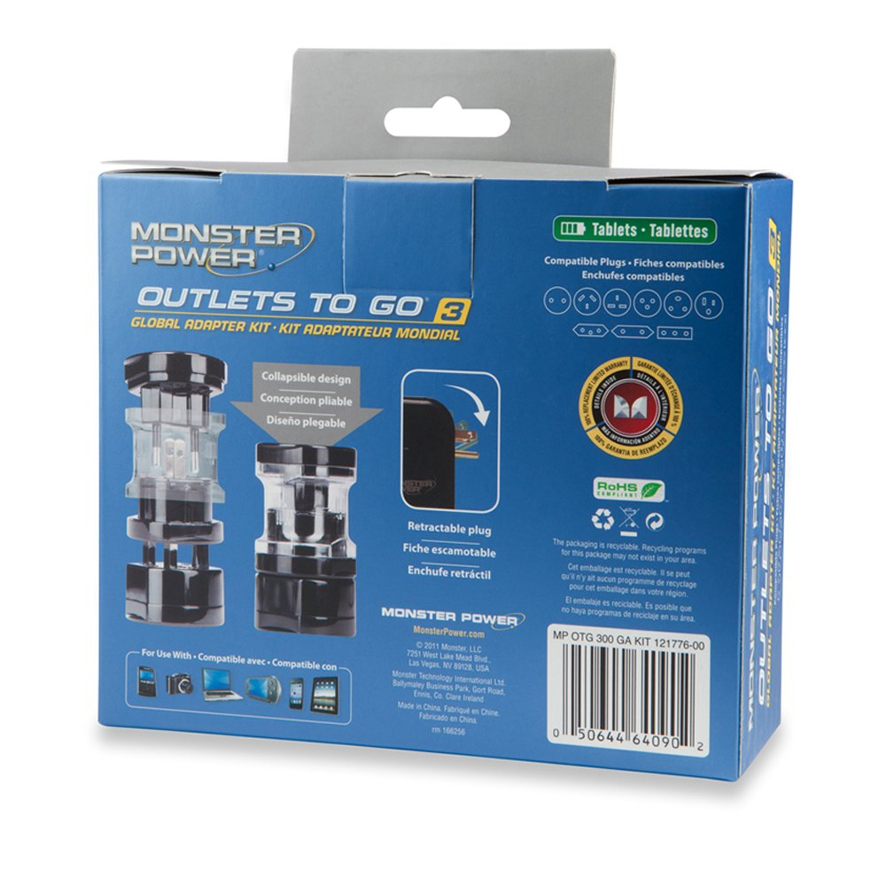 Amazon.com: Monster 121776 Global AC Power Adapter Kit With USB ...