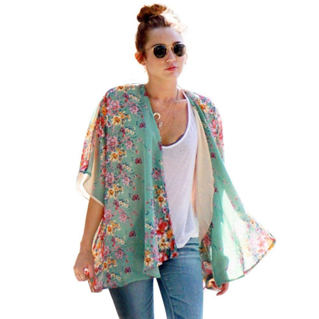 Coromose Summer Boho Floral Printed Chiffon Shawl Kimono Cardigan Tops Coromose 1569