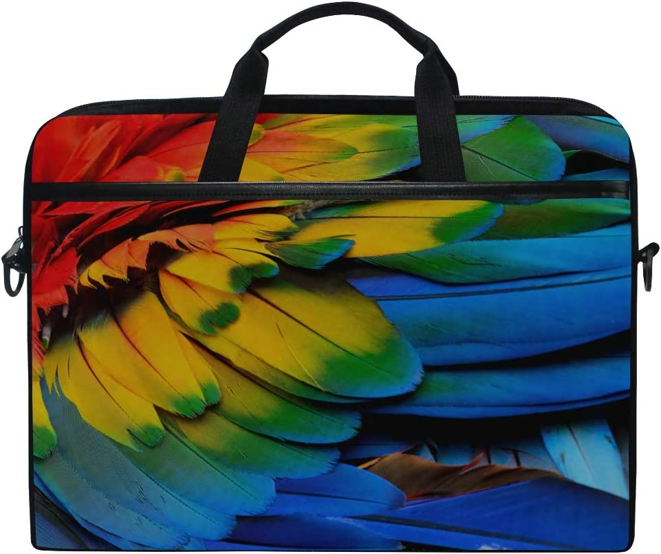 Laptop Bag Colorful Scarlet Macaw Birds Feathers Red 15-15.4 Inch Laptop Case, Briefcase Messenger Shoulder Bag for Men Women, College Students Busin