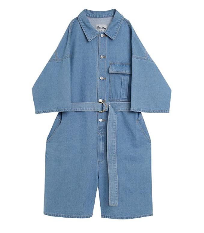 57f9b24b975 neveraway Men s Crimping Baggy Strappy Denim Shorts Vogue Jumpsuit Rompers  at Amazon Men s Clothing store