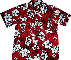 "Camisa Hawaiana Hombre ""Classic Flowers (red)"", 100% algodón, tamaño L"