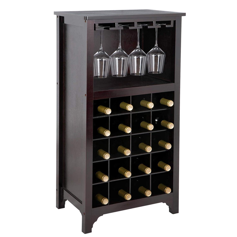 Smartxchoices 20 Bottle Wood Wine Cabinet Glass Rack Table Top, Modular Wine Rack Bottle Holder Storage Shelf Kitchen Home Bar Furniture Display,Espresso