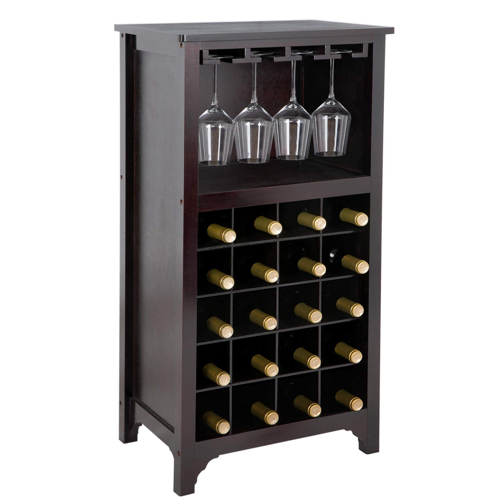 SUPER DEAL Wood Wine Cabinet Modular Wine Rack 20 Bottle Holder Display Storage Shelf with Glass Holder Free Standing Wine Rack, Espresso