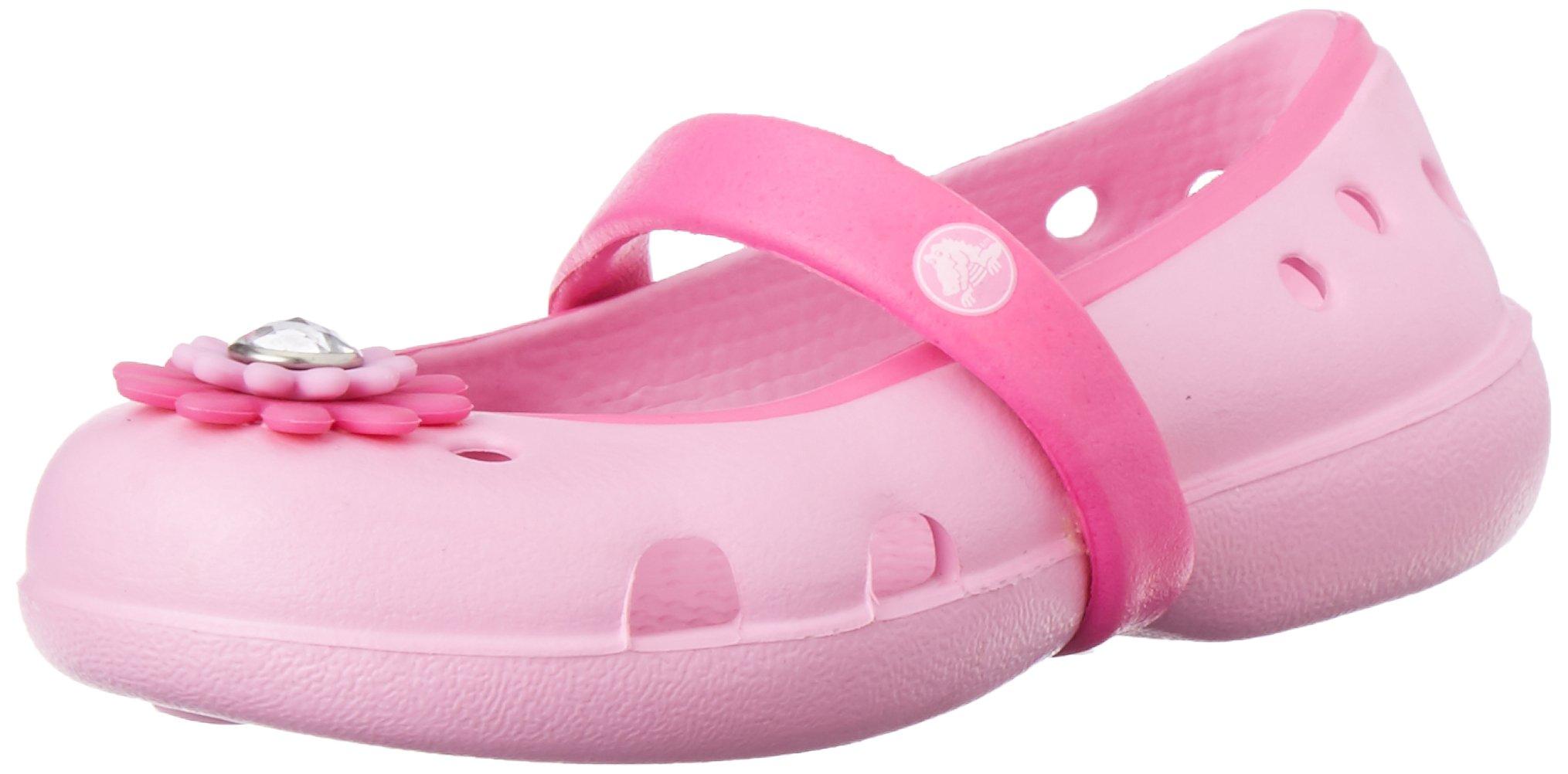 crocs Keeley Petal Charm PS Flat (Toddler/Little Kid/Big Kid),Carnation/Neon Magenta,12 M US Little Kid