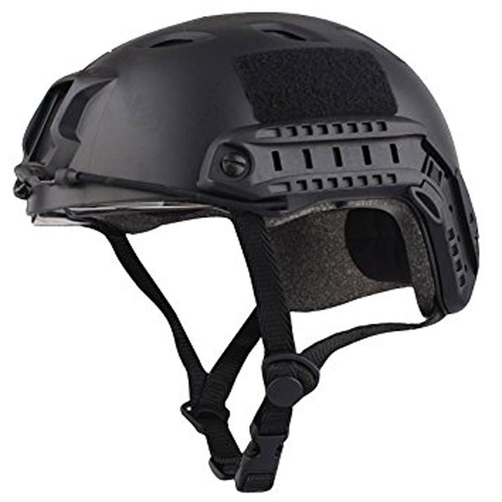 TOOGOO(R)Military Army Tactical Series Airsoft Paintball Hunting CQB Shooting Climbing Gear Combat Fast Helmet Base Jump BJ Type with Goggle Black