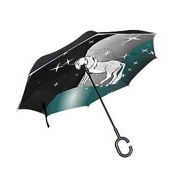BENNIGIRY - Paraguas invertido con unicornio de bosque con diseño plegable inverso, doble capa resistente