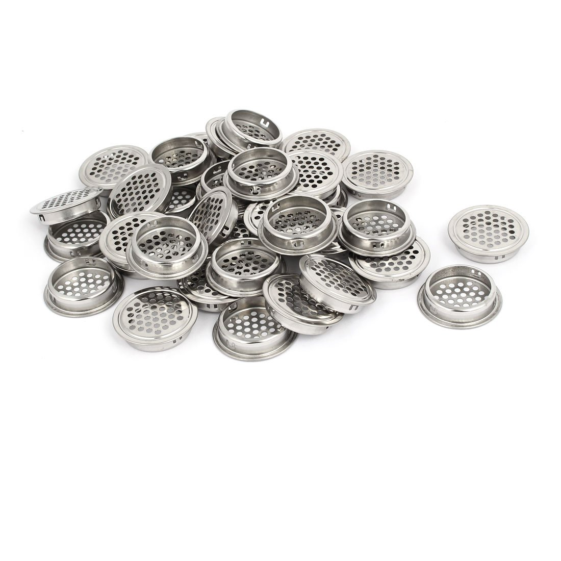 uxcell 35mm Bottom Dia Stainless Steel Round Shaped Mesh Hole Air Vent Louver 35pcs