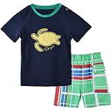 Okidso Ragazzi Leisure Maglietta Abbigliamento Kids Shirt Manica e Pantaloncini Playwear Set Cotone Abbigliamento Estate