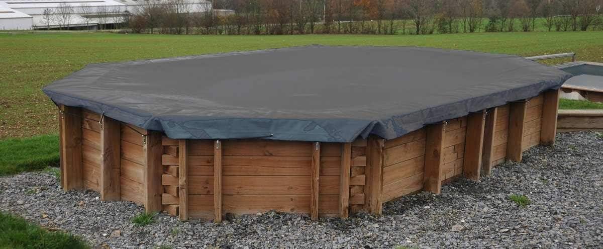 Cubierta invierno piscina GRE rectangular o cuadrada madera 580 g/m² - 400 x 250 cm, Rectangular