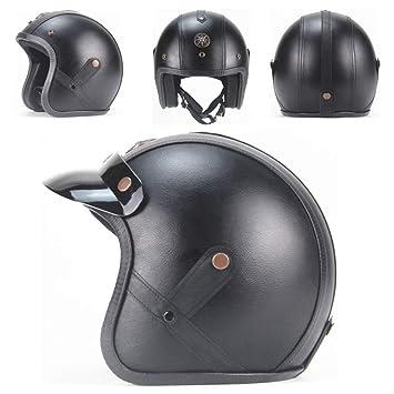 DBY Boy Casco de Seguridad Retro de Cuero Halley Half Helmet ...
