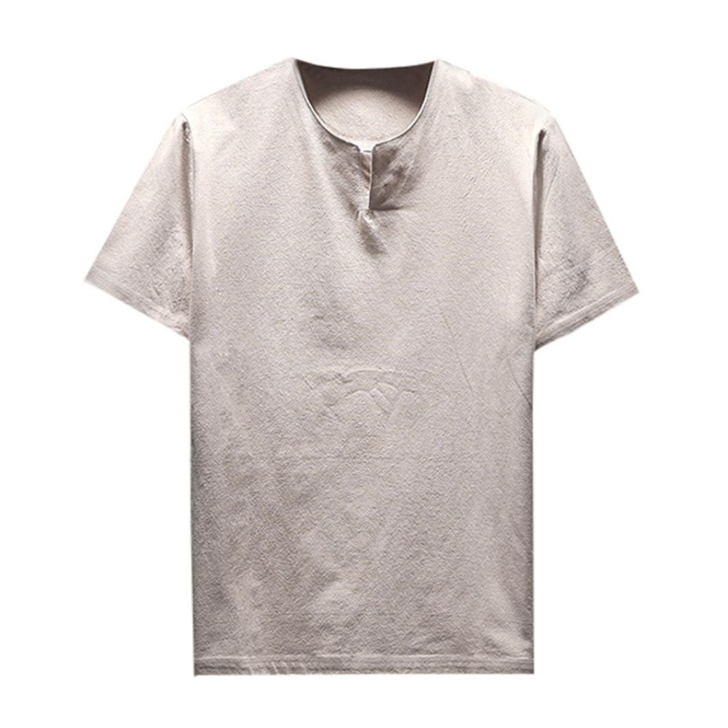 Clearance! Hot sale ! Charberry Summer Men Short Sleeve Comfy linen Soft Solid Blouse T-Shirt Top