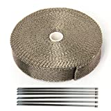 Hiwowsport Lava Titanium Exhaust Wrap Heat Shield of Twill Weave for Auto Manifold With 6pcs Locking Ties (1inch X 50 feet twill weave)