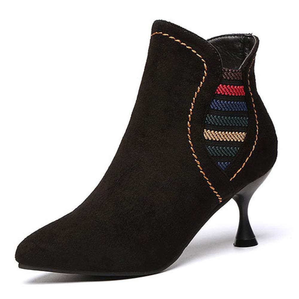 Damen Damen Stiefeletten Schwarz Wildleder Kitten Heel Schuhe Seitlicher Reißverschluss Pumps Kleid Hochzeit Prom Stiefel