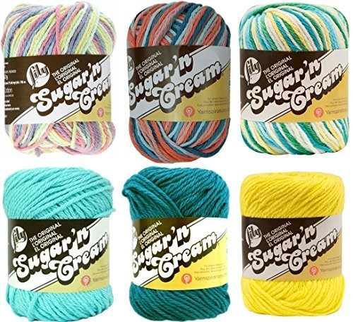 Variety Assortment Lily Sugar'n Cream Yarn 100% Cotton Solids and Ombres (6-Pack) Medium #4 Worsted by Spinrite®
