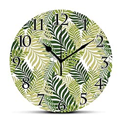 BCWAYGOD Silent Wall Clock,Leaves,Tropical Exotic Palm Tree Leaves Natural Botanical Spring Summer Contemporary Graphic,Green Ecru Non Ticking Wall Clock/Desk Clock for Office Home Decor 9.5 inch