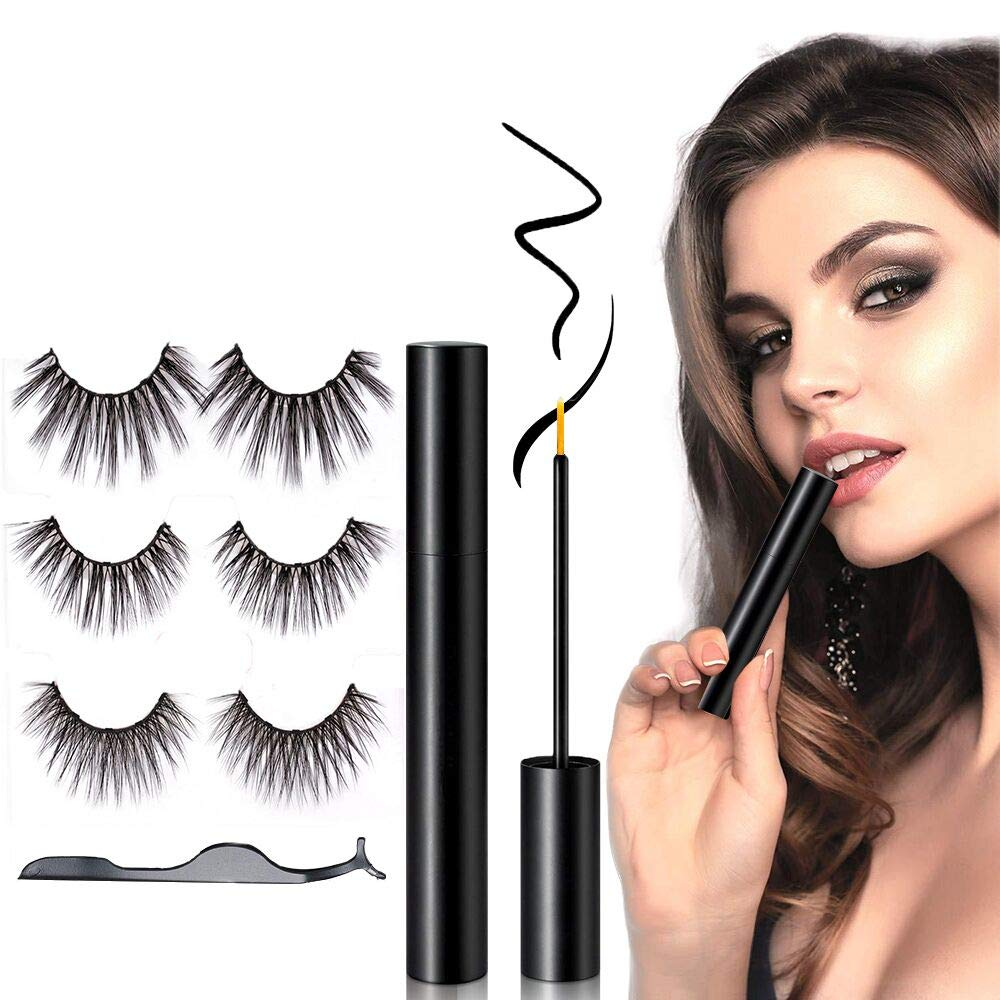 Upgradeded Magnetic Eyelashes and Eyeliner Kit,3 Pairs Reusable Ultra Thin 3D False Eyelashes with Tweezers|No glue