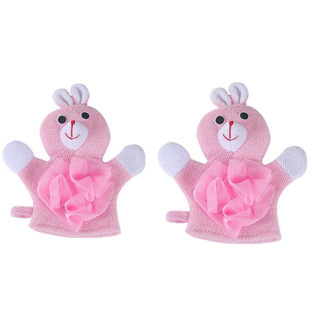Samoii 1 Pair Baby Bath Cotton Gloves Compound Cotton Children Bath Rub Gloves Shower Body Wash Puff Mesh Bath Toys