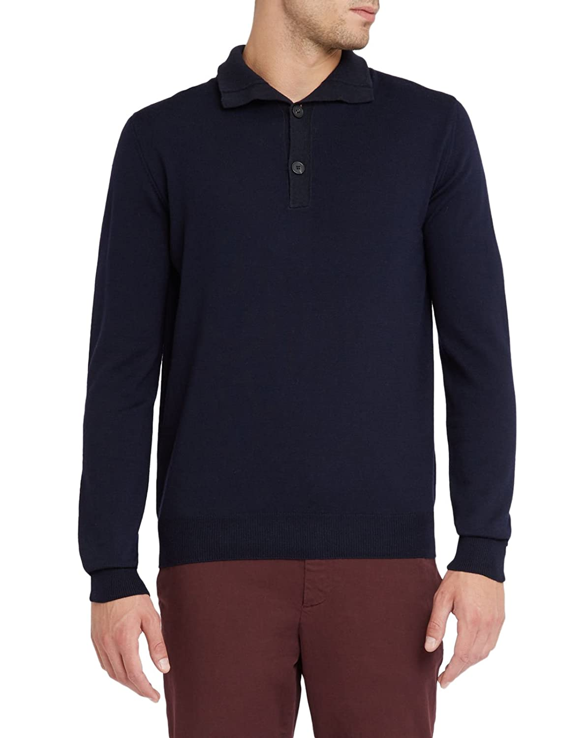 EDITIONS M.R - Zip-neck Sweaters - Men - Navy Merino Wool Contrasting Mock Polo-Neck Sweater for men