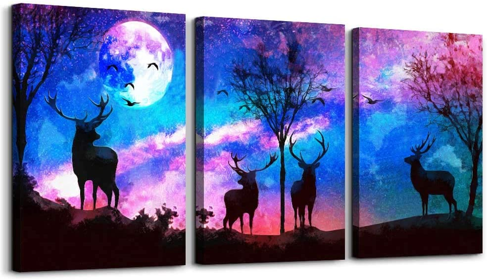 """Landscape painting abstract Canvas Wall Art for living room bathroom Wall Decor for bedroom kitchen decorations 3 Piece deer Canvas Prints artwork Modern framed Home decoration posters 12"""" x 16"""""""