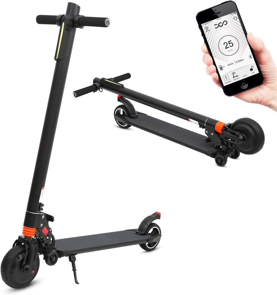 Portable Electric Scooter Rechargable Folding Scooter for Teenagers and Adults with Headlight and Hand Brake Max Speed up to 14mph, Carry 264lbs Max 16 Mile Range per Charge