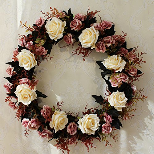 Meiyiu 45cm 18-inch Silk Flower Door Wreath Spring Summer Garden Wreaths Decorating for sitting room, hotel, wedding scene,wedding car, villa decoration by Meiyiu (Image #3)