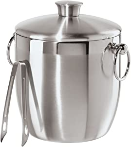 Oggi Stainless Steel Ice Bucket with Tongs, 3 L