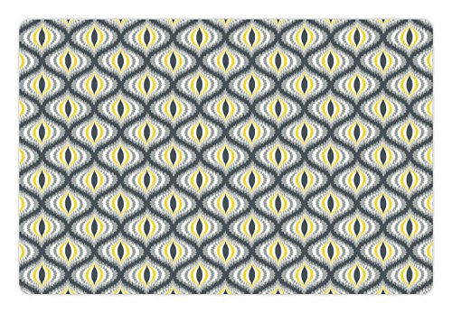 Lunarable Ikat Pet Mats for Food and Water, Wavy Round Colorful Damask Inspired Ikat Motifs Exotic Oriental Asian Style Print, Rectangle Non-Slip Rubber Mat for Dogs and Cats, Yellow Grey ()