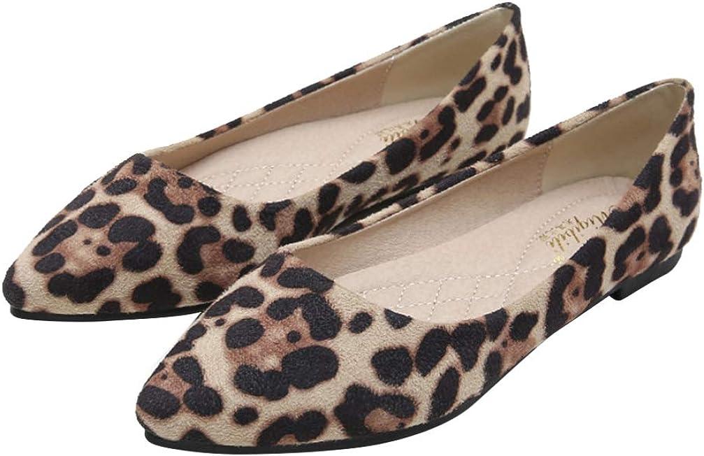 Holibanna Ballerines en Daim L/éopard Chaussures Plates Pointues Chaussures de Marche de Loisirs pour Femmes