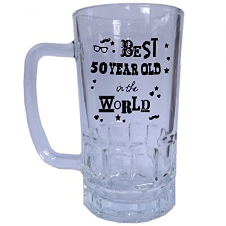 Best 50 Year Old In The World Beer Stein Tankard Glass Unique And Funny 50th Birthday Gift Perfect Present Idea For Him Amazoncouk Kitchen