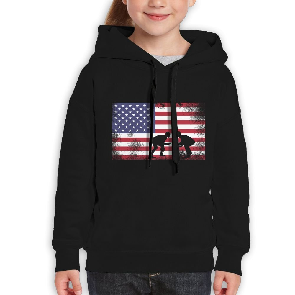 Smiletoyou Juniors American Flag Wrestling Wrestling Gift Casual Fleece Hooded Sweatshirt Pullover L by Smiletoyou