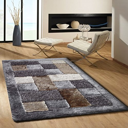 CHIC RUGZ 100% Polyester Material Tufted & Hand Carved Plush Rug Cotton Backing, 7' 6