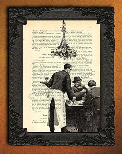 In a French bistro wall art, Parisian café decor artwork