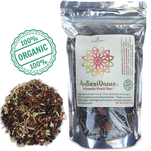 Modest Earth AntioxiDance | 100% ORGANIC Fruit Tea | Hibiscus & Superfood Berries, Vitamin & Antioxidant Rich | Caffeine-Free, ZERO CARBS | Natural AntiAging Home Remedy Drink | 40+ SERVINGS (6.20 OZ)