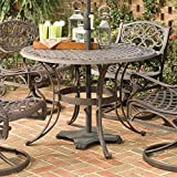 Home Style 5555-32 Biscayne Round Outdoor Dining Table, Rust Bronze Finish, 48-Inch