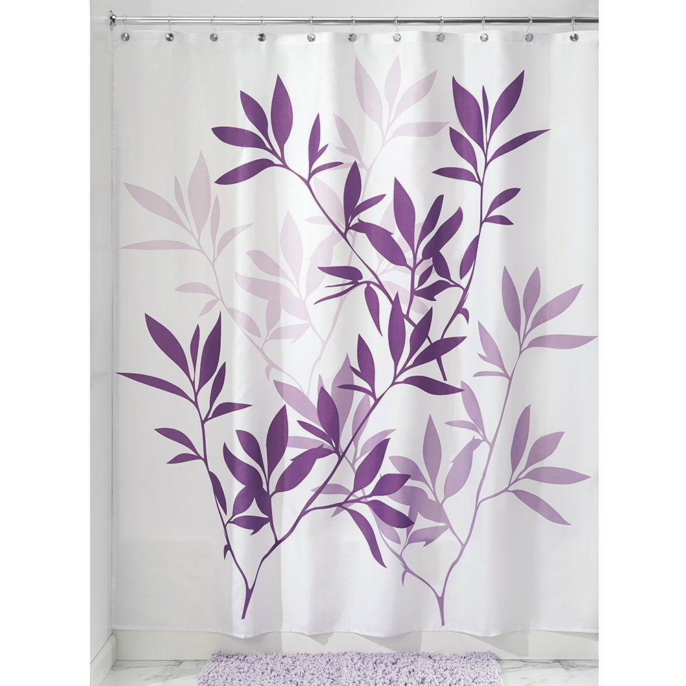 Amazon.com: InterDesign Leaves Shower Curtain, Purple, 72-Inch by ...